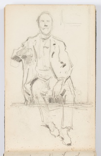 Sketch of a seated man with a beard, facing frontally. His right arm seemingly rests on the back of a chair, in which he sits sideways. His left hand rests on his thigh.