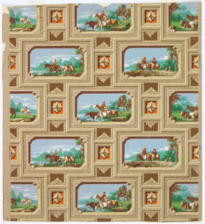 Four rectangular landscapes depicting pastoral scenes of figures, horses, cows and dogs. The frames simulate grained molding. Between each frame is a rosette. All frames are heavily highlighted and shaded. The scenes are divided in alternating rows of two each.