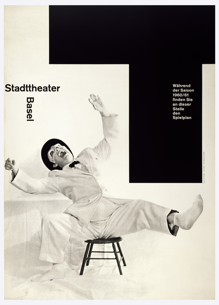 """At lower left, a black and white photographic image of a man in a white suit wearing a white domino mask is seated on a low stool. He leans backward with an expression of exaggerated laughter.  Above his the words Stadttheater / Basel form a """"T"""" shape.  The upper right quarter of the poster design consists of a large """"T"""" shaped area with the text in white as follows: Während / der Saison / 1960/61 / finden Sie / an dieser / Stelle / den / Spielplan."""
