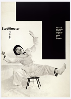 "At lower left, a black and white photographic image of a man in a white suit wearing a white domino mask is seated on a low stool. He leans backward with an expression of exaggerated laughter.  Above his the words Stadttheater / Basel form a ""T"" shape.  The upper right quarter of the poster design consists of a large ""T"" shaped area with the text in white as follows: Während / der Saison / 1960/61 / finden Sie / an dieser / Stelle / den / Spielplan."