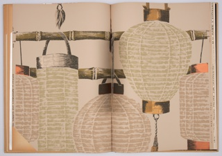 Book includes 31 patterns with multiple colorways of most patterns. Includes Central Park and Chicken Wire by Ilonka Karasz; Etruscan, Lanterns, Chinese Peony, Fancy Fruits and Vegetables by Marion Dorn; Baiae and Cathedral by Paul Johnson, White Birches by Lanette, and Midnight Supper by Peter Mitchell. Also includes a black and white photo insert of Stairs by Ilonka karasz. Also included is House & Garden Cook Book Wallpaper printed in the blueprint process.