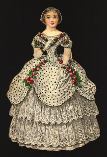 Print, Paper Doll Costume in White with Black Spots