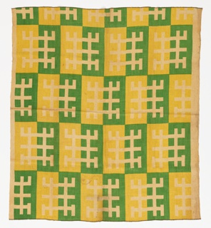 Geometrical motif of intersecting lines in reserve arranged on blocks of green and yellow on a natural linen ground fabric.