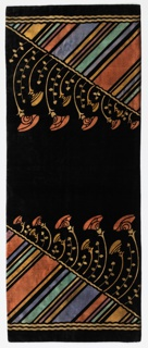 Rectangular Art Deco black velvet runner has deep border design on both ends of a triangle filled with diagonal stripes of varying sizes in dark orange, gold, blue, light green, and purple. Flower stems and leafy sprigs extend outward from the edge.