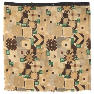 Square length with a busy geometric pattern in shades of grey, beige, dark red, dark brown, and dark green.