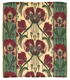 Lightweight scrim-style curtain fabric printed with a dark red and light and dark green iris pattern,
