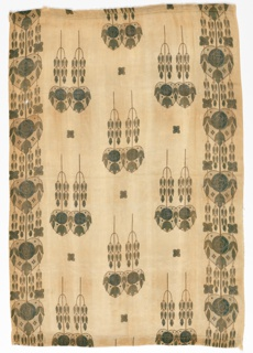 Scrim-style curtain panel in dark green and ochre. Leafy pendants have heart-shaped compartments containing floral forms.