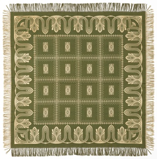 Olive-green and off-white Jugendstil-style tablecloth with fringe on all sides.