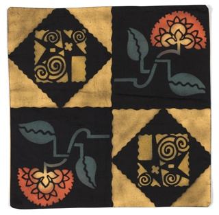 Square black Art Deco textile with a checkerboard design in gold and black. Black squares contain a highly stylized flower sprig of dark orange and yellow on a blue-gray stem with two leaves. Gold squares have a black square in reserve that contains a geometric arrangement of curlicues and other irregular geometrical shapes.