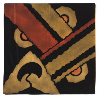 Square Art Deco textile has a dramatic large-scale geometric design of intersecting wavy bands of gold and dark orange on a black ground. Half circles of gold and dark orange extend from the wavy bands. Wavy triangle has a stylized tree on a hill in reserve.