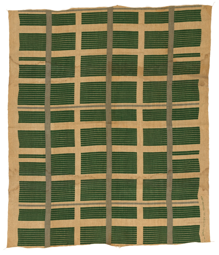 Dark green and light green stripes on natural brown linen ground.