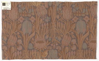 Rectangular sample with a floral design inspired by William Morris woven textiles. Large and small blossoms are in dusty shades of blue, pink and brown.