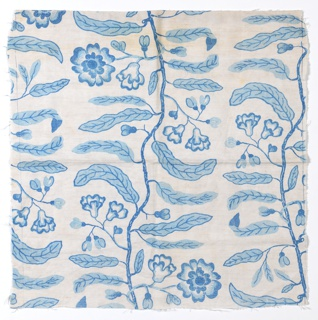 Length of printed fabric in shades of medium and light blue has meandering vines with elongated leaves and flowers.