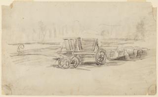 Drawing, A farm wagon