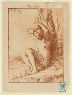 Print, Nude Woman Seated by a Stream