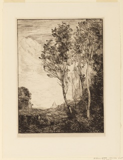 Beyond three feather trees, right, a church is seen behind a low hill. Trees, left middle distance. A figure appears in the left center foreground