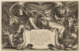 Titlepage with cartouche flanked by dolphins at center, with a farmer and peasant woman seated above. Farm implements and a horse and cow surround. A poem attributed to G. Rykius, the artists' names and the date appear on the cartouche.