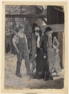 Interior of a mill. Two women, standing at right, and a young man, at left. Three other men observe the scene, left background.