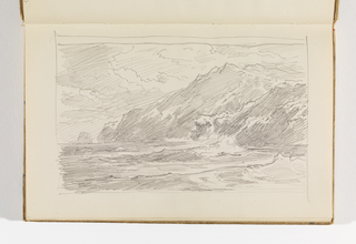 Recto: flat sea, four layers of cliffs on right; Verso: very rough, incomplete sketch of flat sea.