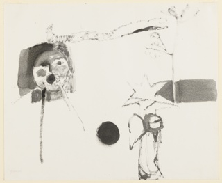 Head of a shouting figure with hand cupped about mouth, at left. At right, a standing angel, a star, a black sphere, and a tree. All shown abstractly.