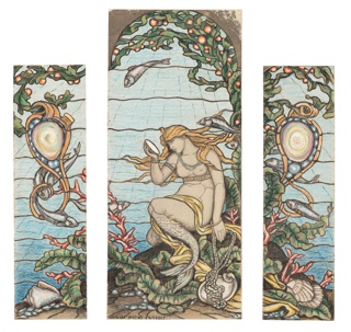 Narrow flanking panel for central composition. Pearl rocaille escutcheon swings from branch of under water plant, with fish swimming about. Large conch shell at bottom.