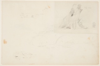 Recto: Horizontal sheet containing a cow lying down and a second cow head at upper left; a large tree stump at upper right; cows standing in water beneath twin arches of a bridge at lower center, and a large rock at lower left.  Verso: Horizontal sheet containing a yoked ox lying down at upper center; detail of a cow's leg in a lying position at center right; and two yoked oxen with indications of a wagon, seen from behind, at lower center.