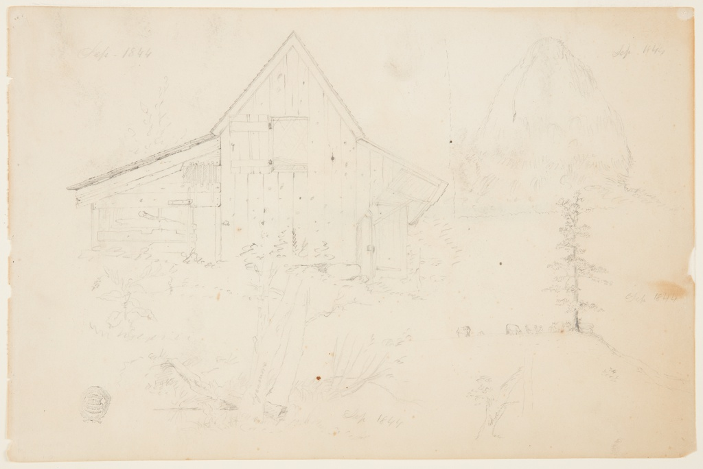 """Leaf of a sketchbook. Recto: A small barn seen from the end side, with scrub trees, inscribed """"Sycamore"""" in the foreground. At right, a hay stack, and the date: """"Sep 1844."""" Below, cows grazing near a tall pine tree and """"Sep 1844."""" Verso: a single pine tree, and the date: """"Sep 1844 / M[ountain] H[ouse]."""""""