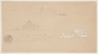 At upper left, sketch of coastline. At upper right, view of an iceberg in the foreground and another in the right background. At lower left, sketch of an iceberg with a resemblance to a house. At lower right, an iceberg, enframed.