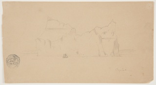 Seascape depicting a large iceberg rising from the water before a coastline with a sailing boat approaching in front.