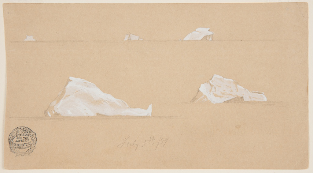 At top, distant view of three icebergs. At bottom, two drawings of single icebergs, each with a horizon line indicated below.