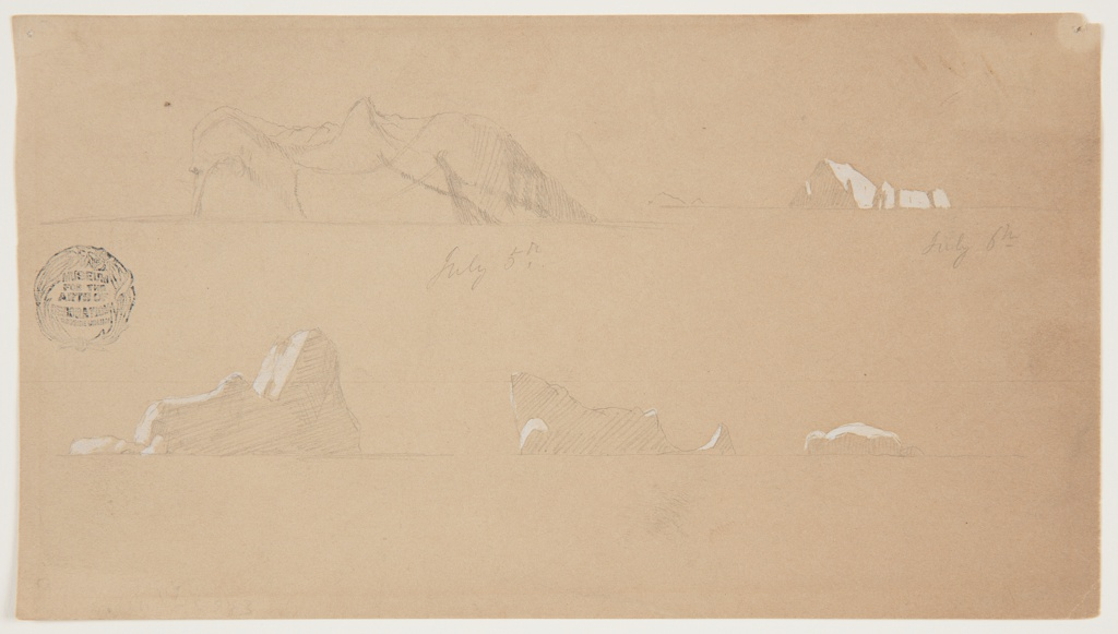 Seascape design with distant views of five individual icebergs, two at top and three at bottom of composition, each with a horizon line below.