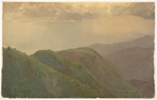 Oblique view of hill ranges which are crossed by a valley.  Cloudy sky with sun rays.
