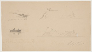 Five sketches on a single sheet. Top row: landscape scene depicting moss on rocks; a part of a roof of a house with a scaffolding at the corner to which a rope is fastened; distant view of a floating iceberg. Bottom row: a row boat with two men on water; a floating iceberg. Dated bottom right.