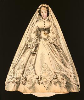 Print, Paper Doll Costume, White Veiled Dress