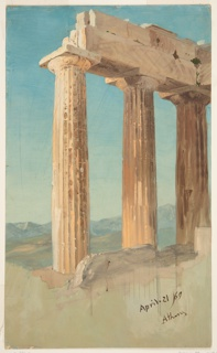 Vertical format, view of the Parthenon for the North, a group of three columns. Mountains in the distance.