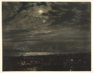 Horizontal drawing of a calm sea, with distant shore seen behind in the light of a full moon.