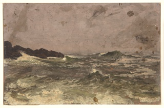 Rocks project in the right foreground.  Agitated sea.  Verso:  many brush strokes.