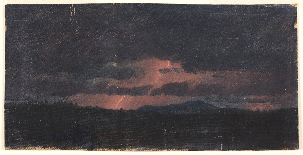 Horizontal image of the Catskills are seen in an electric storm at dusk.  Lightning casts a rose light between black clouds.  The foreground is shown in black.