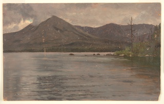 Horizontal view shown from Katahdin Lake with the Lake in the foreground.  Dark clouds above.
