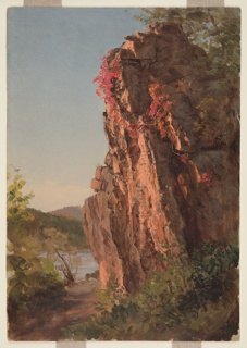 Vertical view with a tall rock rising in center foreground and a red vine descending from the top and trailing off to the right.  A path winds from lower left corner along a river visible in left middle ground with hills beyond.