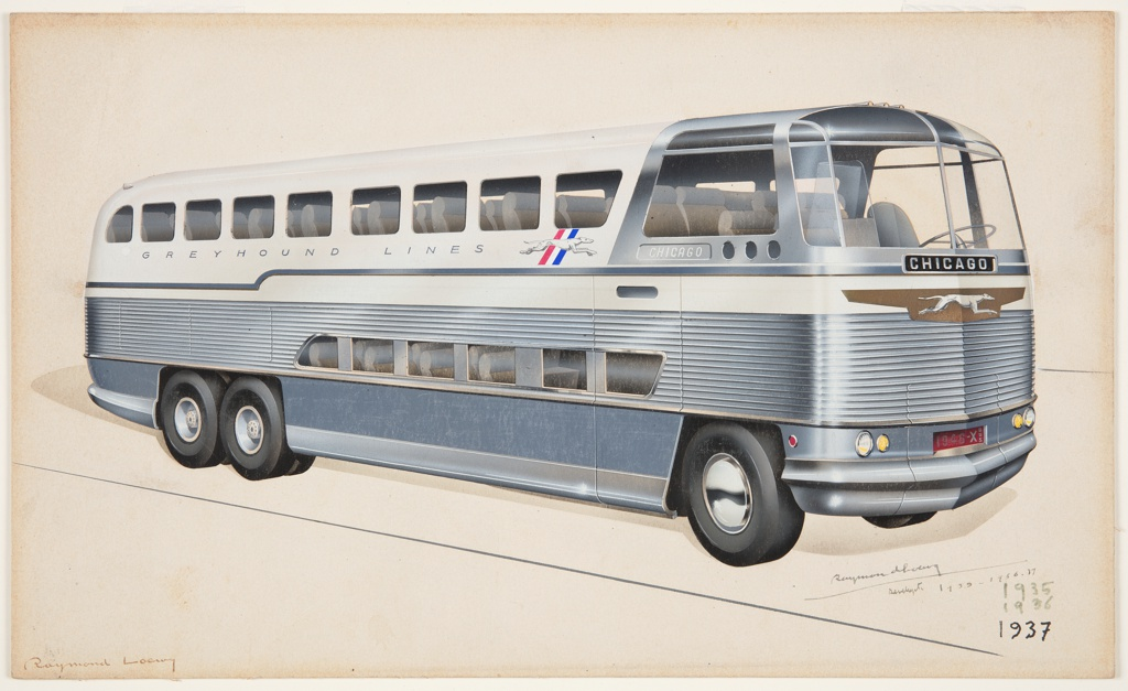 """On cream ground, design for a six-wheeled double-decker Greyhound bus in three-quarter profile view. At the front of the automotive, a large windshield, the word """"CHICAGO"""" in silver text on a black plaque immediately below. Centered below the destination is the Greyhound logo, an elongated running white hound on copper ground. Below the logo, a large streamlined chrome grille, which wraps around the sides of the bus, accentuating the windows of the seats on the lower level. A red license plate at front reads """"1946-X BUS"""" with small round white and yellow headlights on either side. The destination city of Chicago appears again on the side of the vehicle, with the Greyhound logo behind, in this instance with the dog on a diagonal ground of red, white, and blue stripes. Views through the windows show at least ten rows of four plushly upholstered seats on the upper level, and approximately five rows on the lower level, allowing for mechanical and luggage storage in the lower rear of the vehicle. The frontmost wheel has a shiny chrome hubcap covering the wheel disc, while the rear wheels have an exposed rim and disc. The bus casts a pale shadow on the ground, which is indicated by two parallel diagonal lines."""