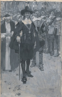 Illustration showing King Charles on the way to his execution. The king stands erect, center.  The crowd in the background scowls and jeers.