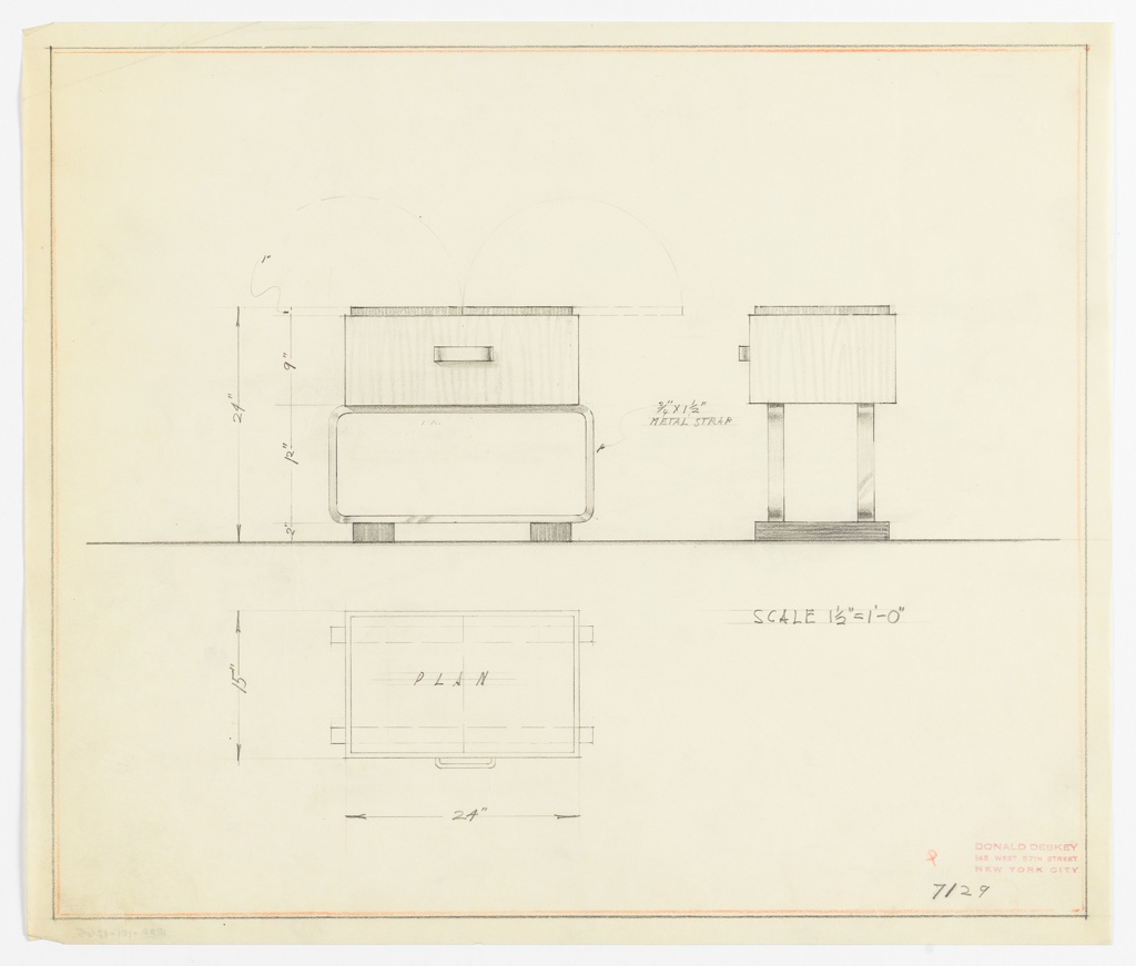 Plan and elevation drawings for end table. Small, rectangular table top of bakelite or lacquered surface, with light wooden drawer below with rectangular drawer pull. Drawer supported by two sets of metal strap legs that form horizontal rectangle. Metal strap legs supported by two squat rectangular feet of a dark wood. Table top opens from middle of top to reveal space within.