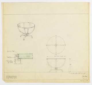 Drawing for round coffee table for Helena Rubinstein apartment. Perspective drawing in upper left corner showing round, glass top, with four curved legs meeting at center below. Four legs extending from center to ground. Plans and elevation drawings below and to the right of perspective.