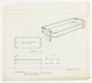 Perspective, plan, and elevation drawing for coffee table. Long rectangular top and lower shelf of table in Tuflex material, polished chrome tubular frame around top and shelf, Bakelite ends/legs.