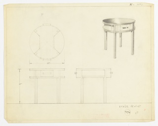 Perspective, plan, and elevation drawing for round end table in various woods (?). Two drawers at opposite sides of table with rectangular pulls; two quarter-sized shelves at opposite sides of table, between drawers; four straight, squared legs.