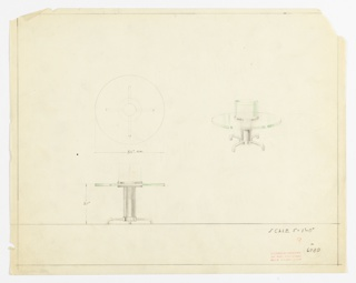 Perspective, plan, and elevation drawing of round end table. Glass top of table, supported by tubular metal pedestal and four tubular legs. Cylindrical glass fish tank at center of table, built into structure.