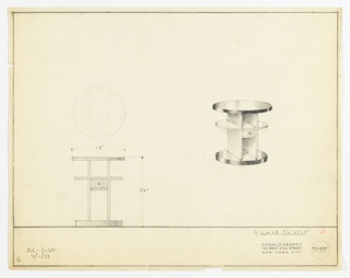 Perspective, plan, and elevation drawing of low, round end table in wood or Bakelite (?). Circular top with narrow, planar base; open shelf at center and two semi-circular shelves on each side; small drawer below shelves, and larger open shelf below. Circular base probably Bakelite.