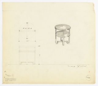 Perspective, plan, and elevation drawing for round end table. Circular top and lower shelf in dark wood; four squared legs with rounded feet, and stretcher at center.