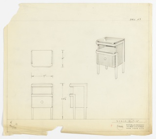 Perspective, plan, and elevation drawing for bed/end table. Rectangular profile of table, with front edges rounded, back edges squared. Open shelf at top of table and large drawer below with round pull at center. Four straight and rectilinear legs in a different, lighter material than body of table. Band of trim at top of table and below shelf.